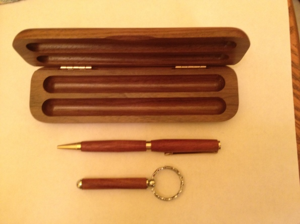 Hand carved pen and key chain set